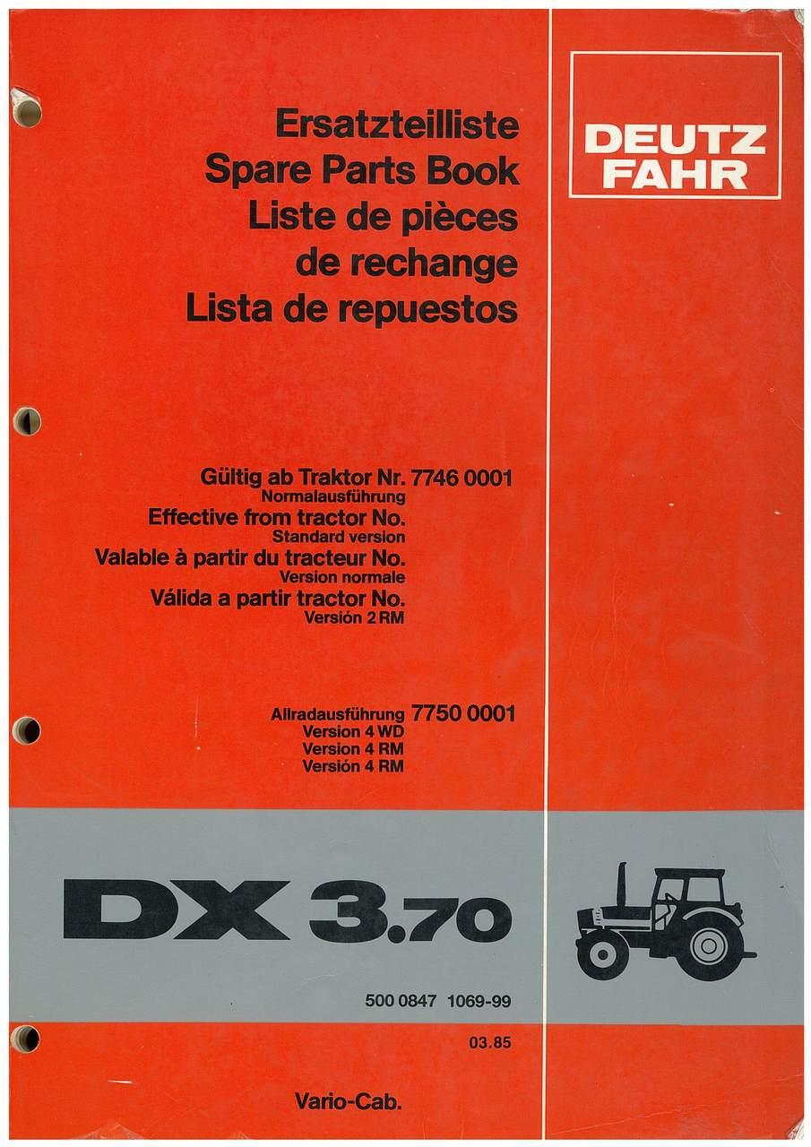DX 3.70 - Ersatzteilliste / Spare Parts Book / Liste de pièces de rechange / Lista de repuestos