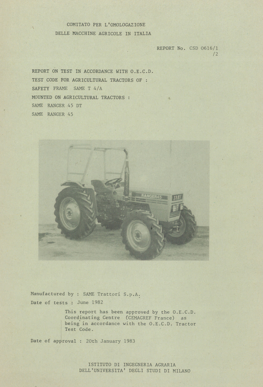 Report test of safety frame SAME T 4/A mounted on agricultural tractors SAME Ranger 45 DT and SAME Ranger 45