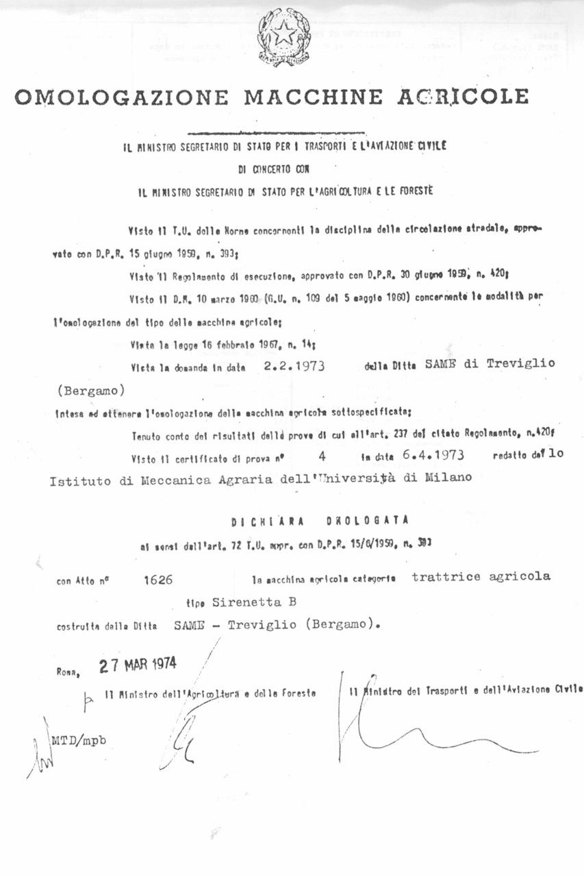 Atto di omologazione della trattrice SAME Sirenetta B