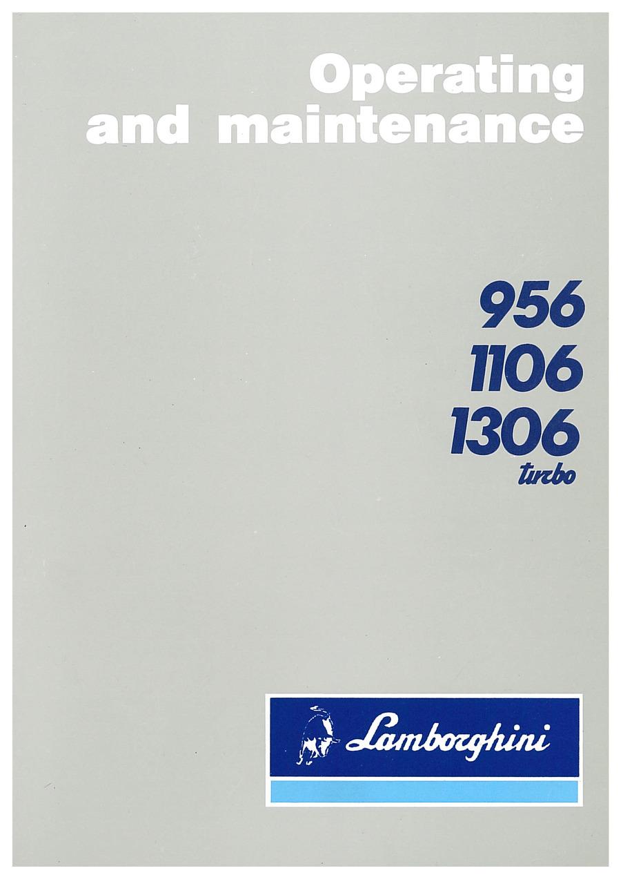 956-1106-1306 TURBO - Operating and Maintenance