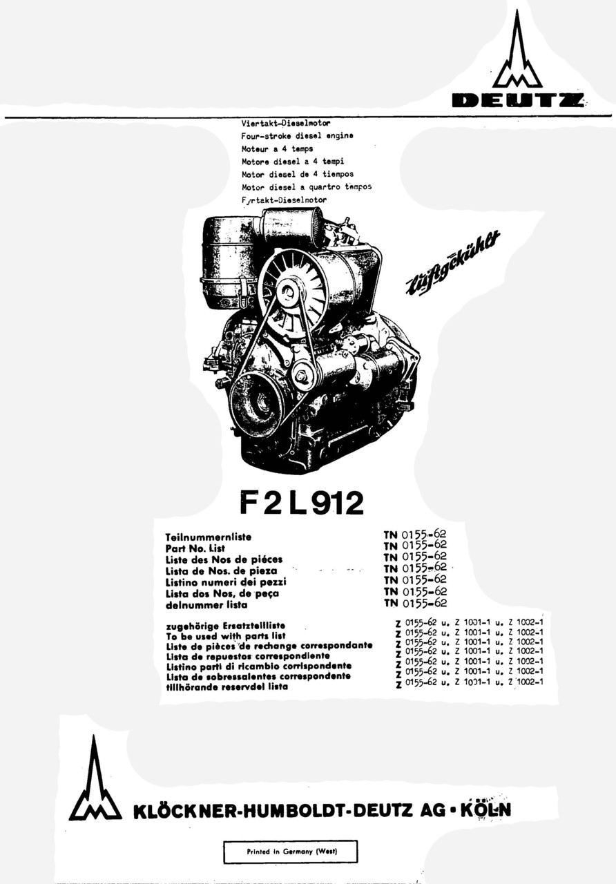 F2 L 912 - Ersatzteilliste / Spare parts catalogue / Catalogue de pièces de rechange / Lista de repuestos