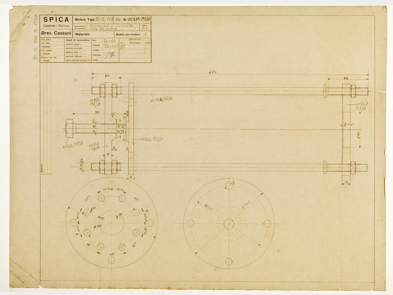 Motore B 8/110 - Disegno 00331 - Apparecchio per montare ila testa dei pistoni