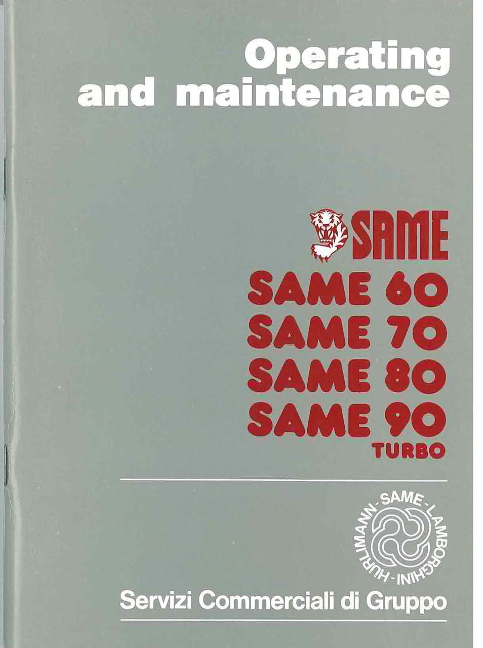 SAME 60 - 70 - 80 - 90 TURBO - Operating and maintenance