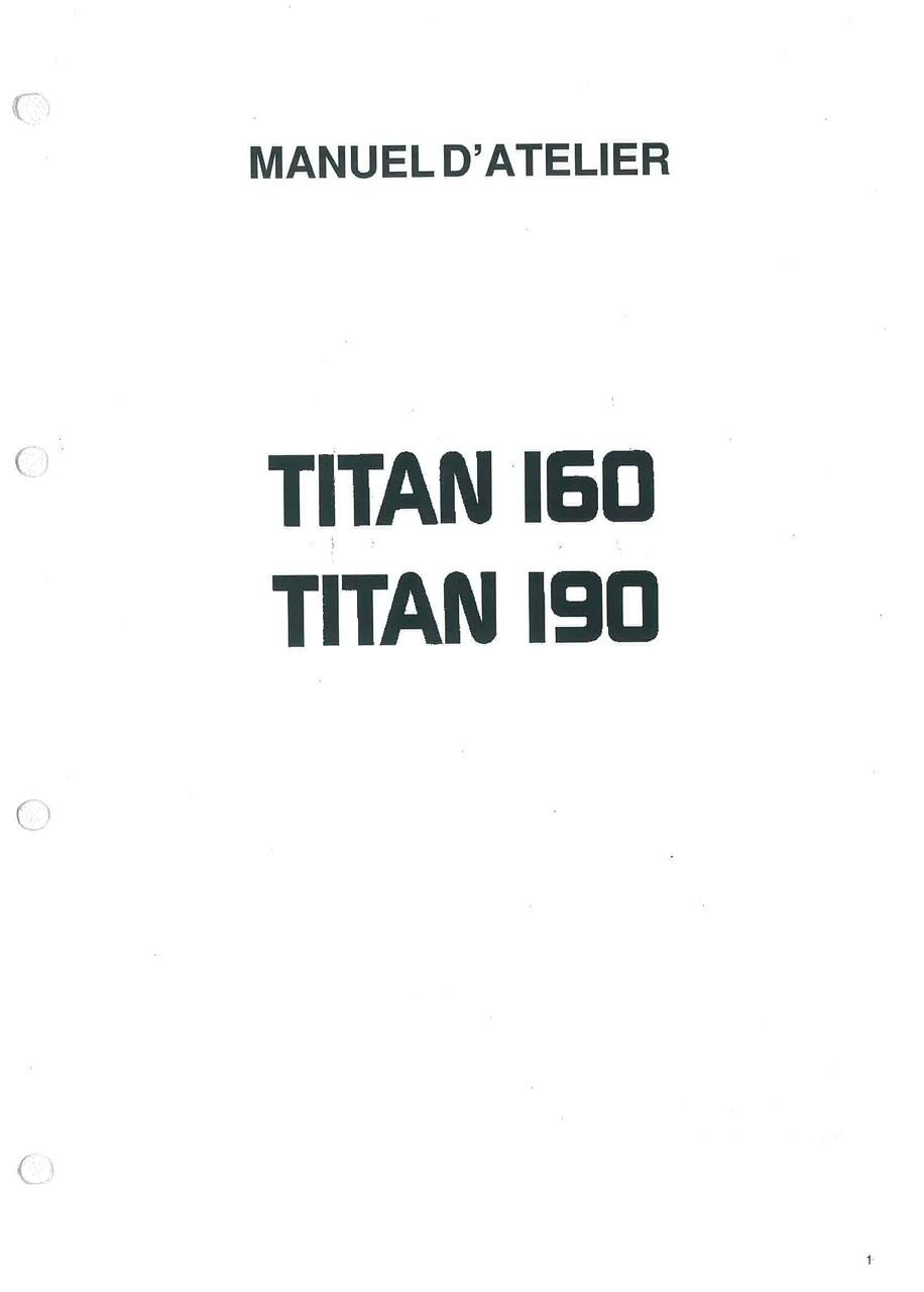 TITAN 160 - 190 - Manuel d'atelier