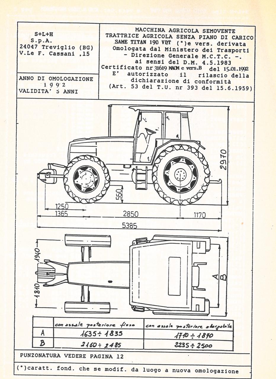 Atto di omologazione della trattrice SAME Titan 190 VDT e versione derivata