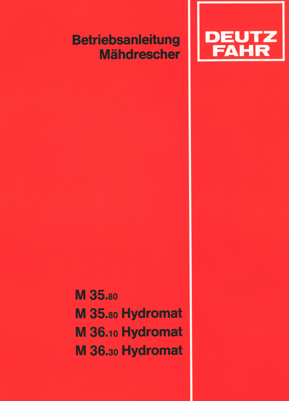 M 35.80 - M 35.80 HYDROMAT - M 36.10 HYDROMAT - M 36.30 HYDROMAT - Betriebsanleitung