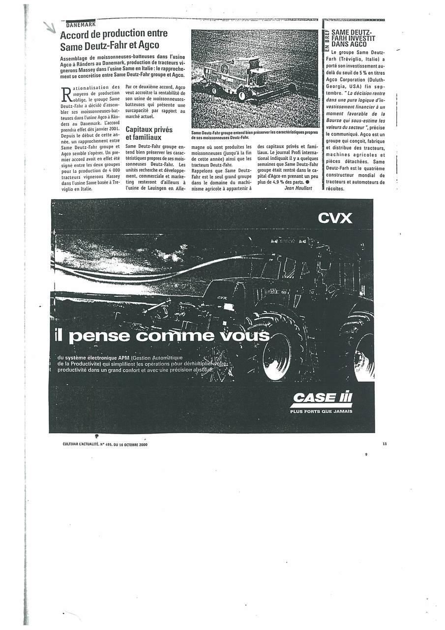Accord de production entre SAME Deutz Fahr et AGCO