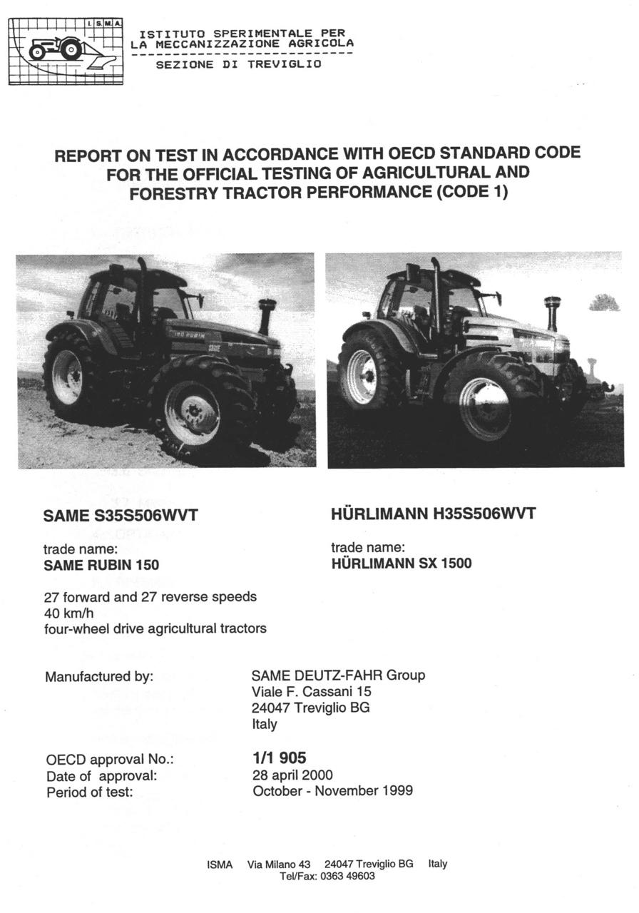 Report test of SAME Rubin 150