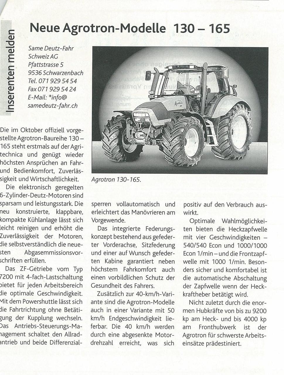 Neue Agrotron -Modelle 130-165