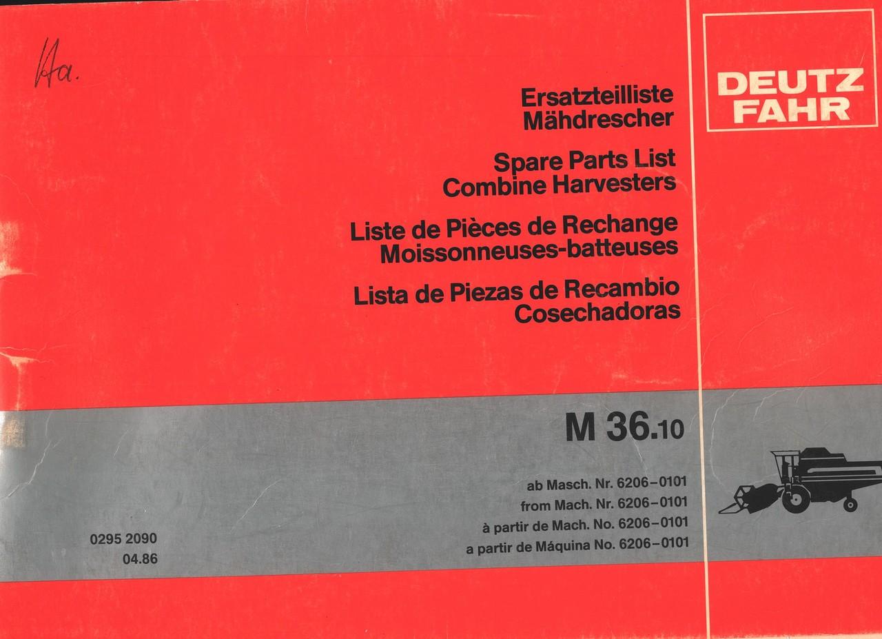 M 36.10 - Ersatzteilliste ab Masch. Nr. 6206-0101 / Spare parts list from Mach Nr. 6206-0101 / Liste de pièces de rechange à partir de Mach. No. 6206-0101 / Lista de piezas de repuestos a partir de Maquina No. 6206-0101