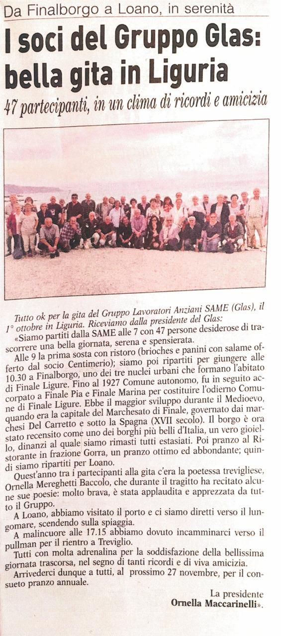 I soci del Gruppo Glas: bella gita in Liguria