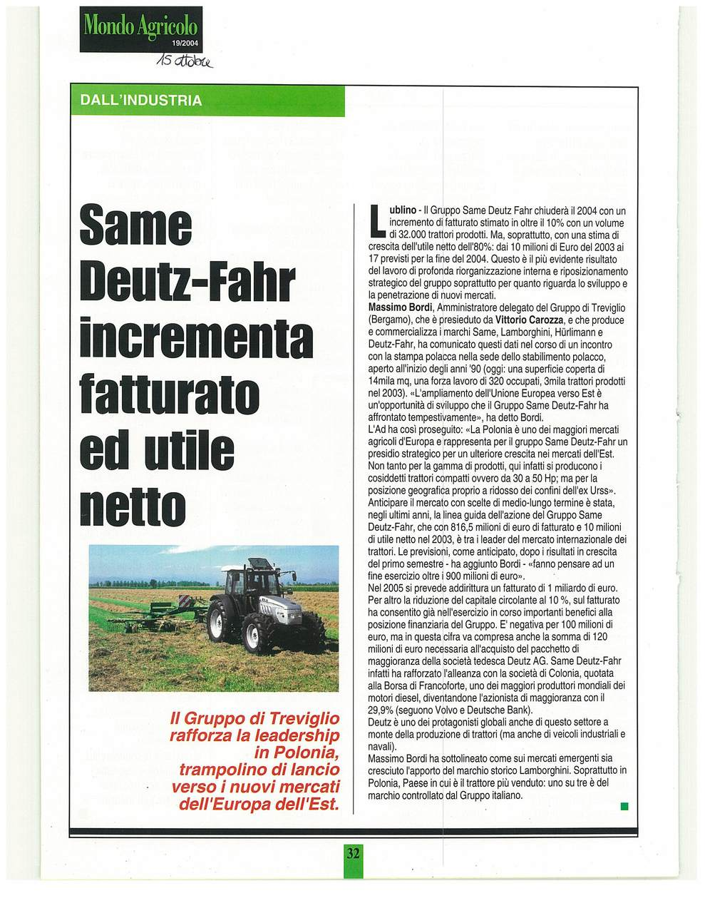 SAME Deutz-Fahr incrementa fatturato ed utile netto