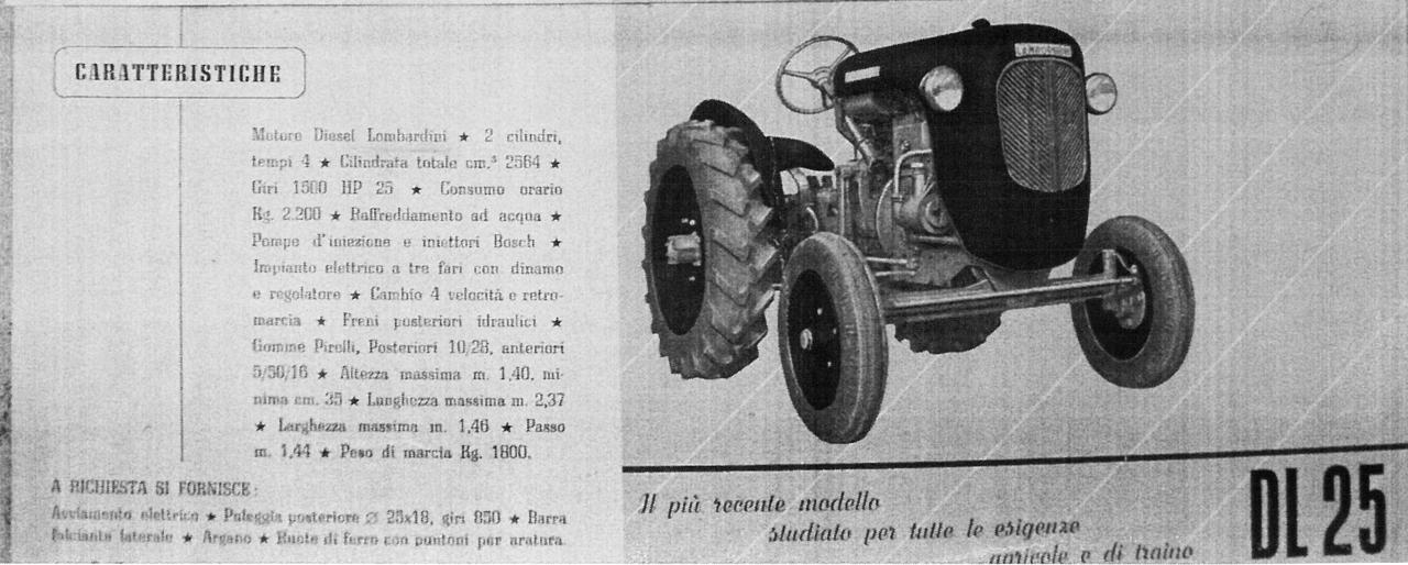 Costruzione trattori agricoli F. Lamborghini - Modelli 1953