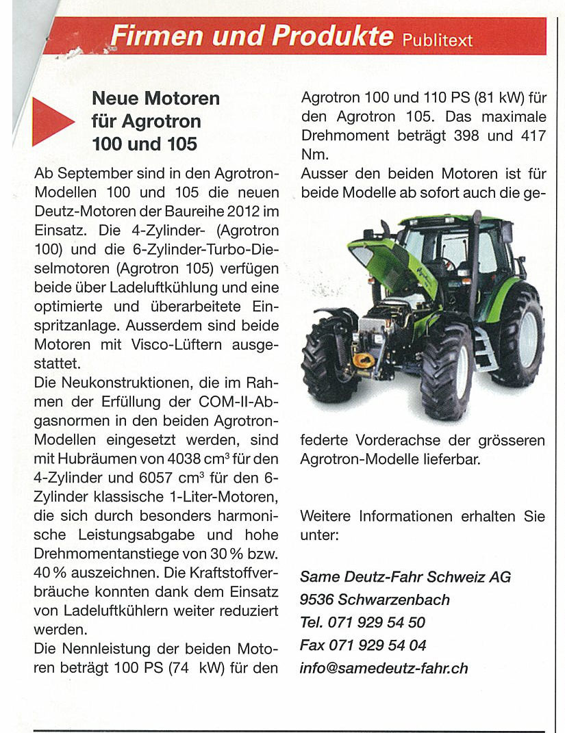 Neuen Motoren fur Agrotron 100 und 105