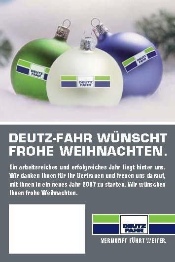 DEUTZ-FAHR wünscht / frohe Weihnachten.