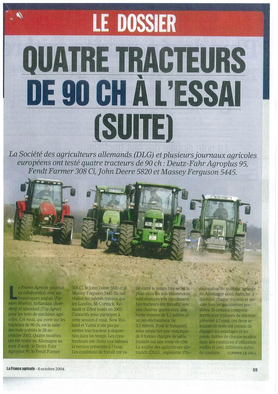 Quatre tracteurs de 90 ch à l'essai (suite)