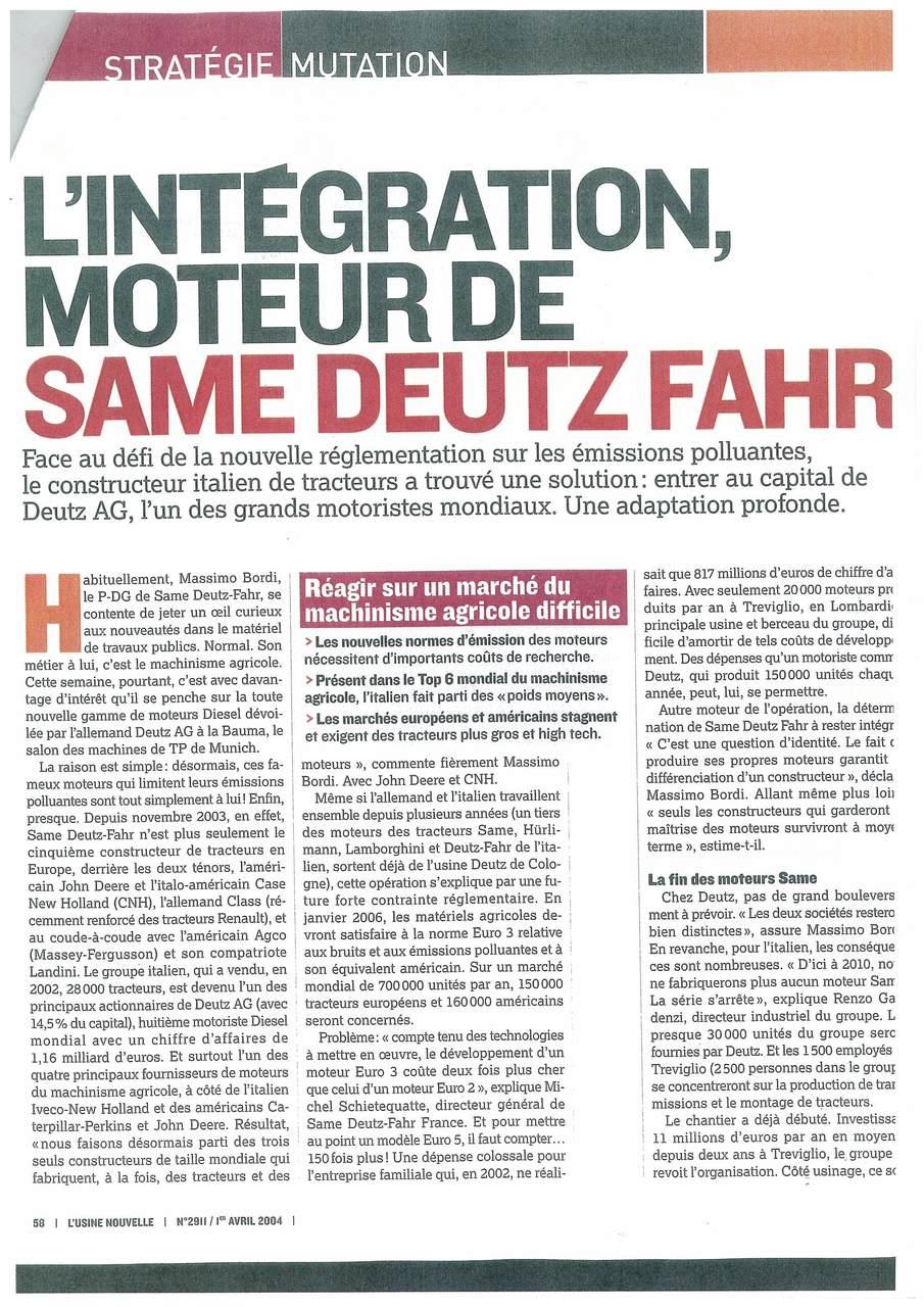L'integration, moteur de SAME Deutz-Fahr