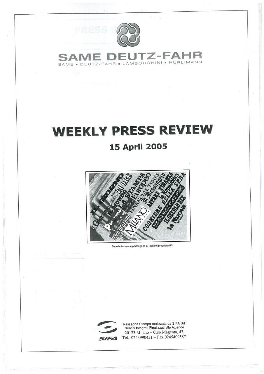 Rassegna stampa Aprile 2005