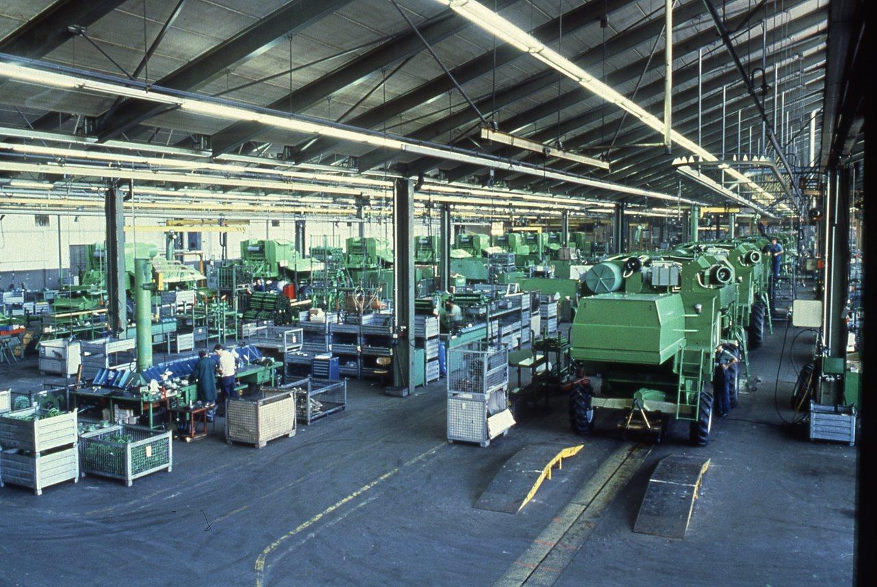 Linea di produzione di Lauingen: assemblaggio mietitrebbie