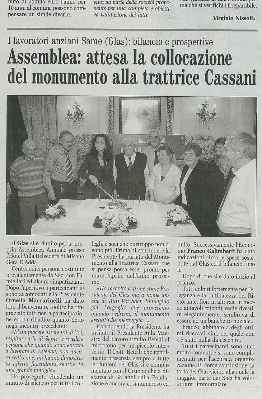 Assemblea:attesa la collocazione del monumento alla trattrice Cassani