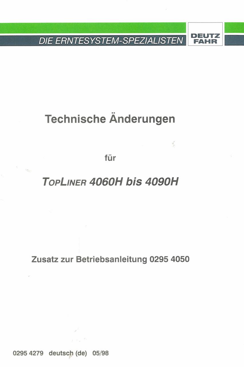 TOPLINER 4060 H - TOPLINER 4090 H - Zusatz zur Betriebsanleitung