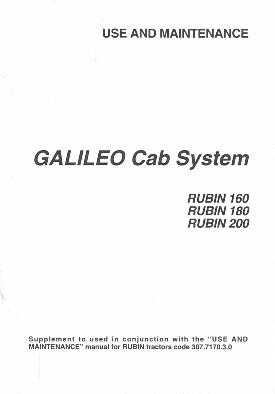 GALILEO CAB SYSTEM for RUBIN 160-180-200 - Use and maintenance