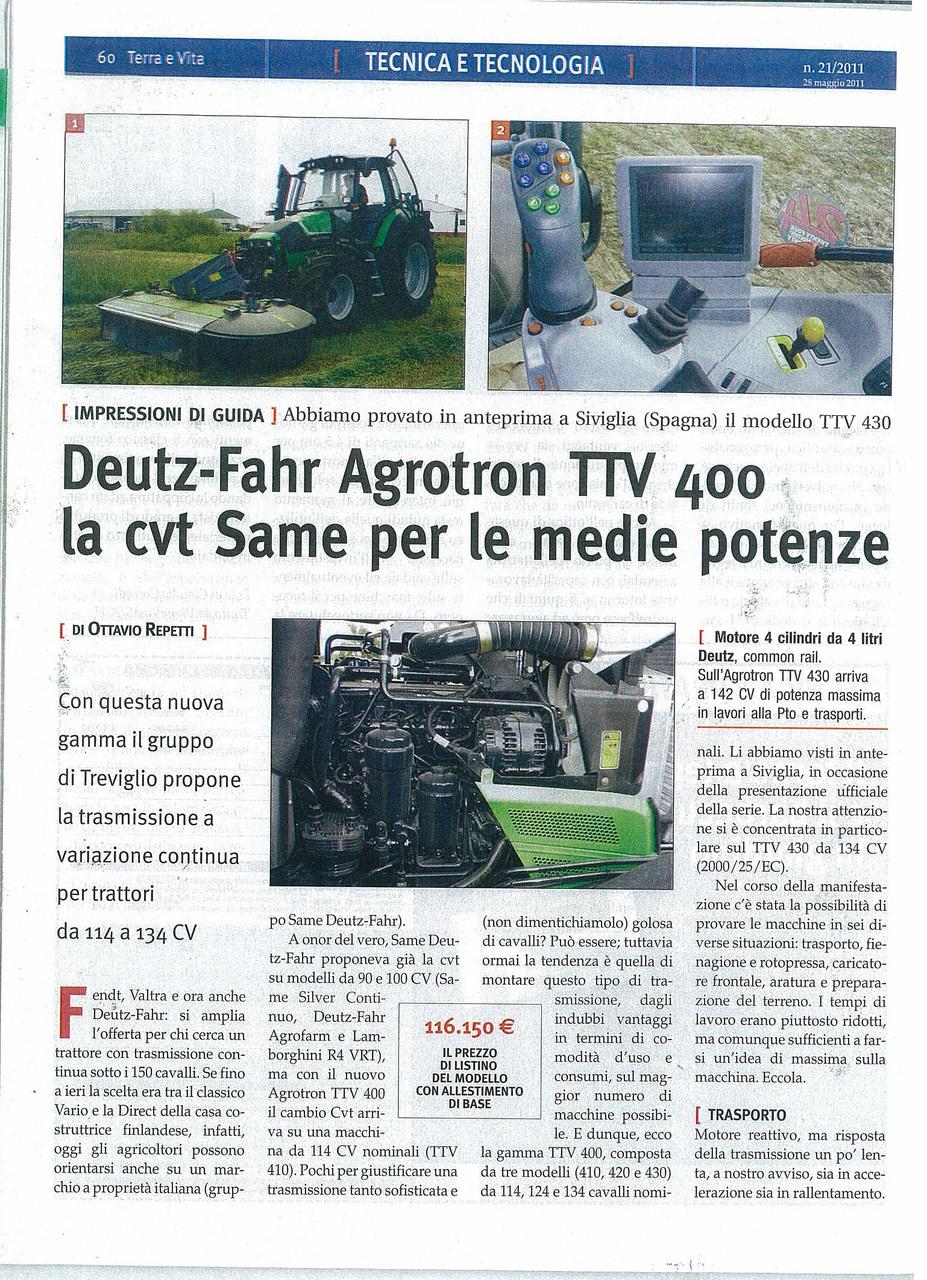 Deutz-Fahr Agrotron TTV 400 la cvt SAME per le medie potenze