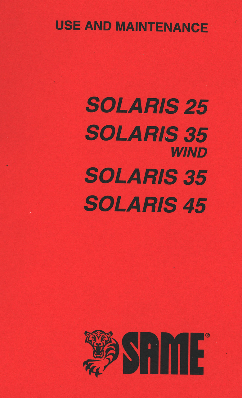 SOLARIS 25 - SOLARIS 35 WIND - SOLARIS 35 - SOLARIS 45 - Use and maintenance