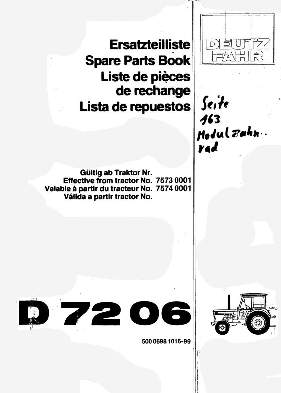 D 7206 - Ersatzteilliste / Spare Parts Book / Liste de pièces de rechange / Lista de repuestos