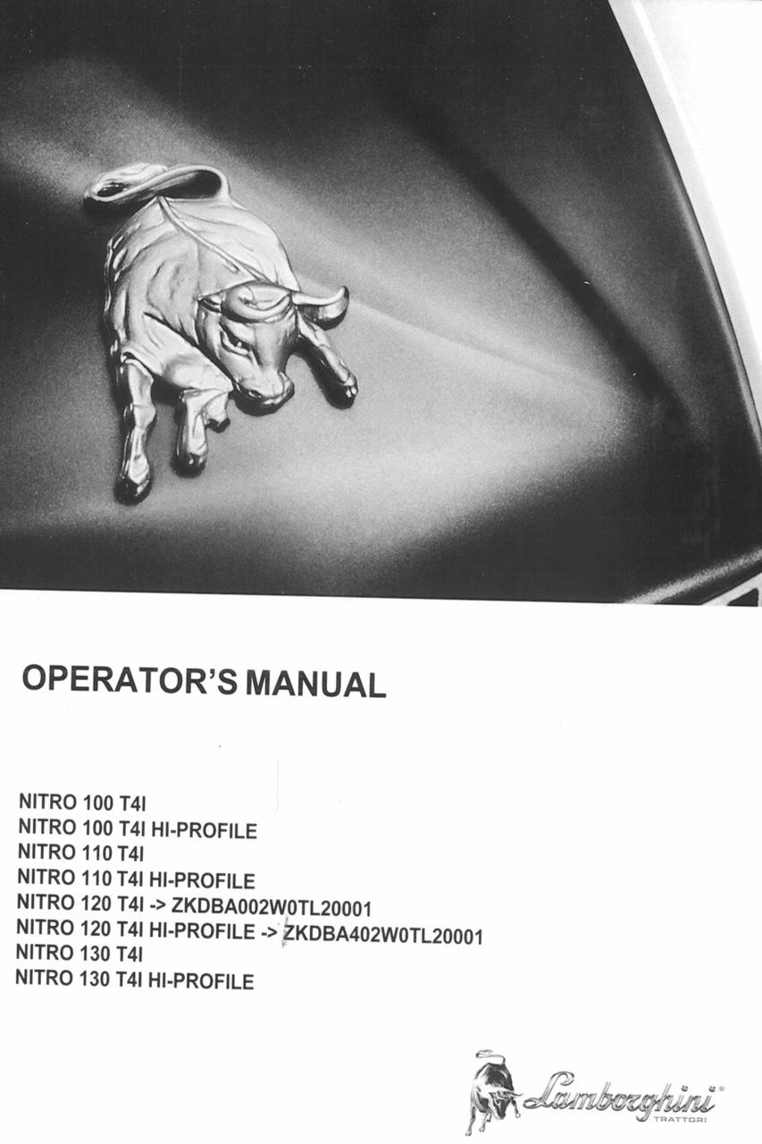 NITRO 100 T4I - NITRO 100 T4I HI-PROFILE - NITRO 110 T4I - NITRO 110 T4I HI-PROFILE - NITRO 120 T4I ->ZKDBA002W0TL20001 - NITRO 120 T4I HI-PROFILE ->ZKDBA402W0TL20001 - NITRO 130 T4I - NITRO 130 T4I HI-PROFILE - Operator's manual