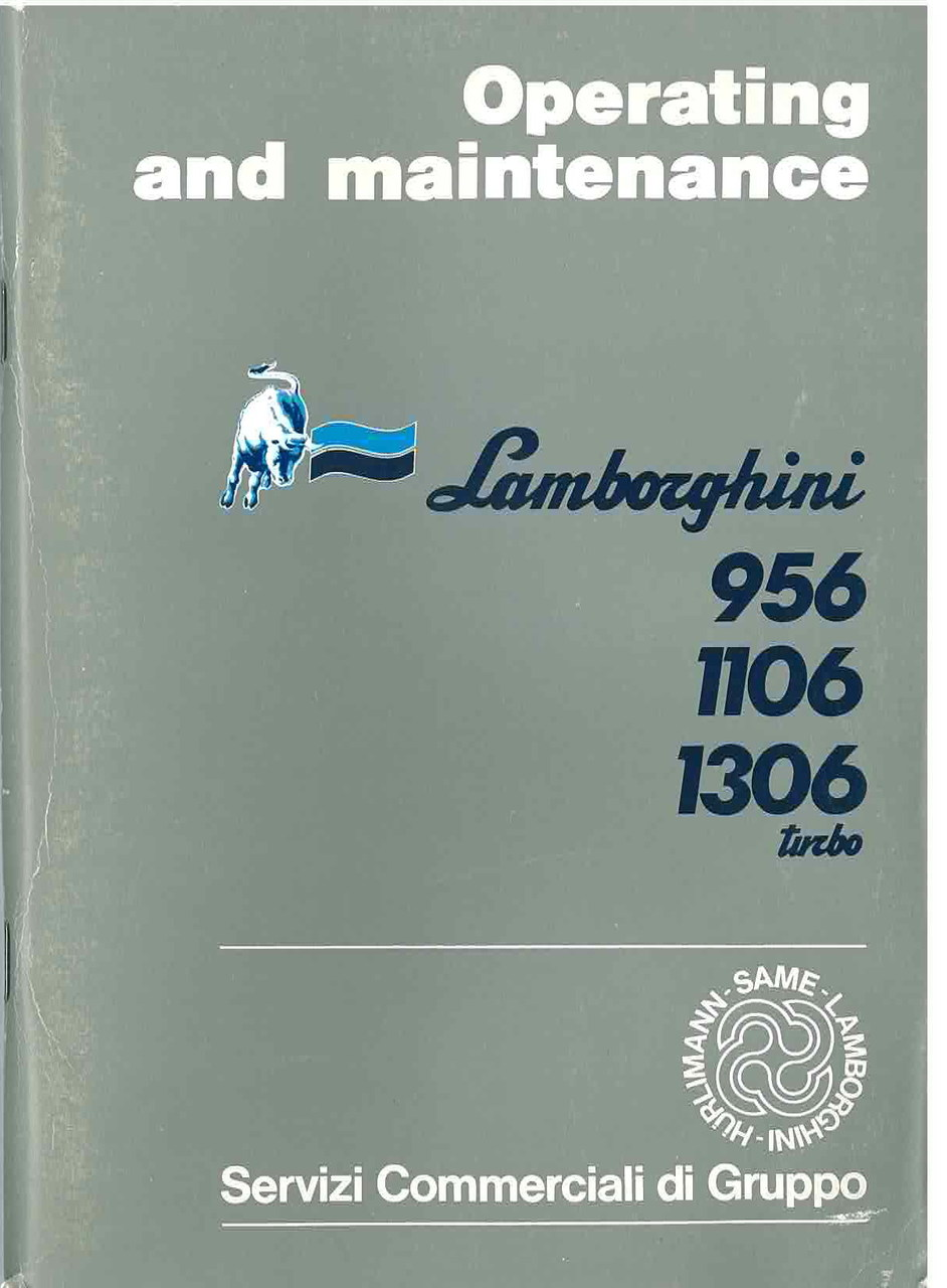 956 - 1106 - 1360 TURBO - Operating and Maintenance