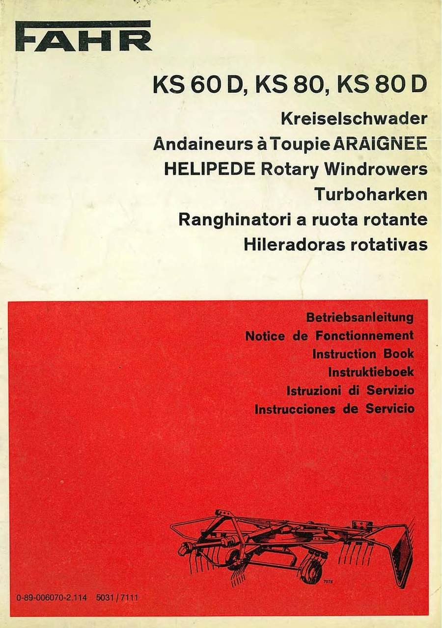 Kreiselschwader KS 60 D - 80 - 80 D - Bedienungsanleitung