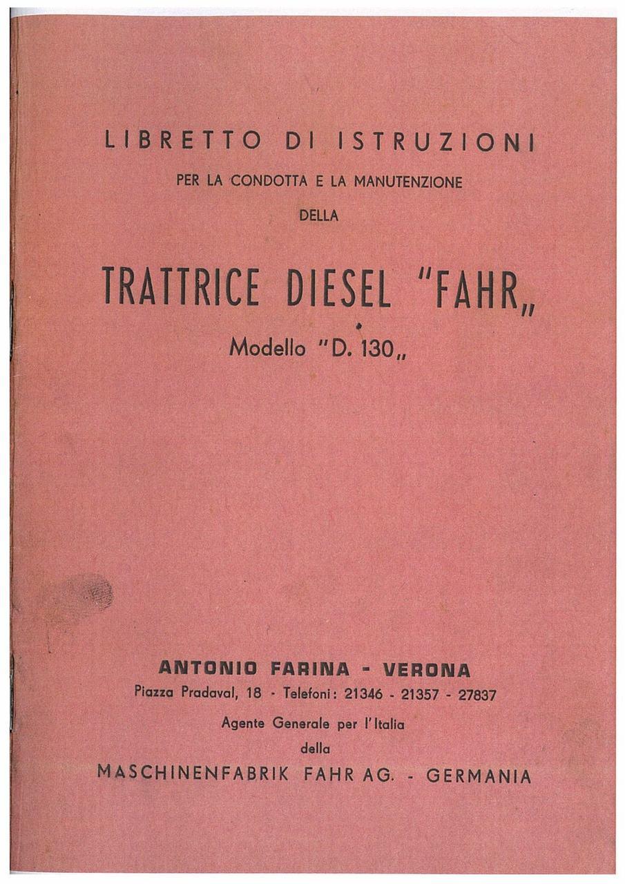 TRATTRICE DIESEL D 130 - Libretto Uso e Manutenzione