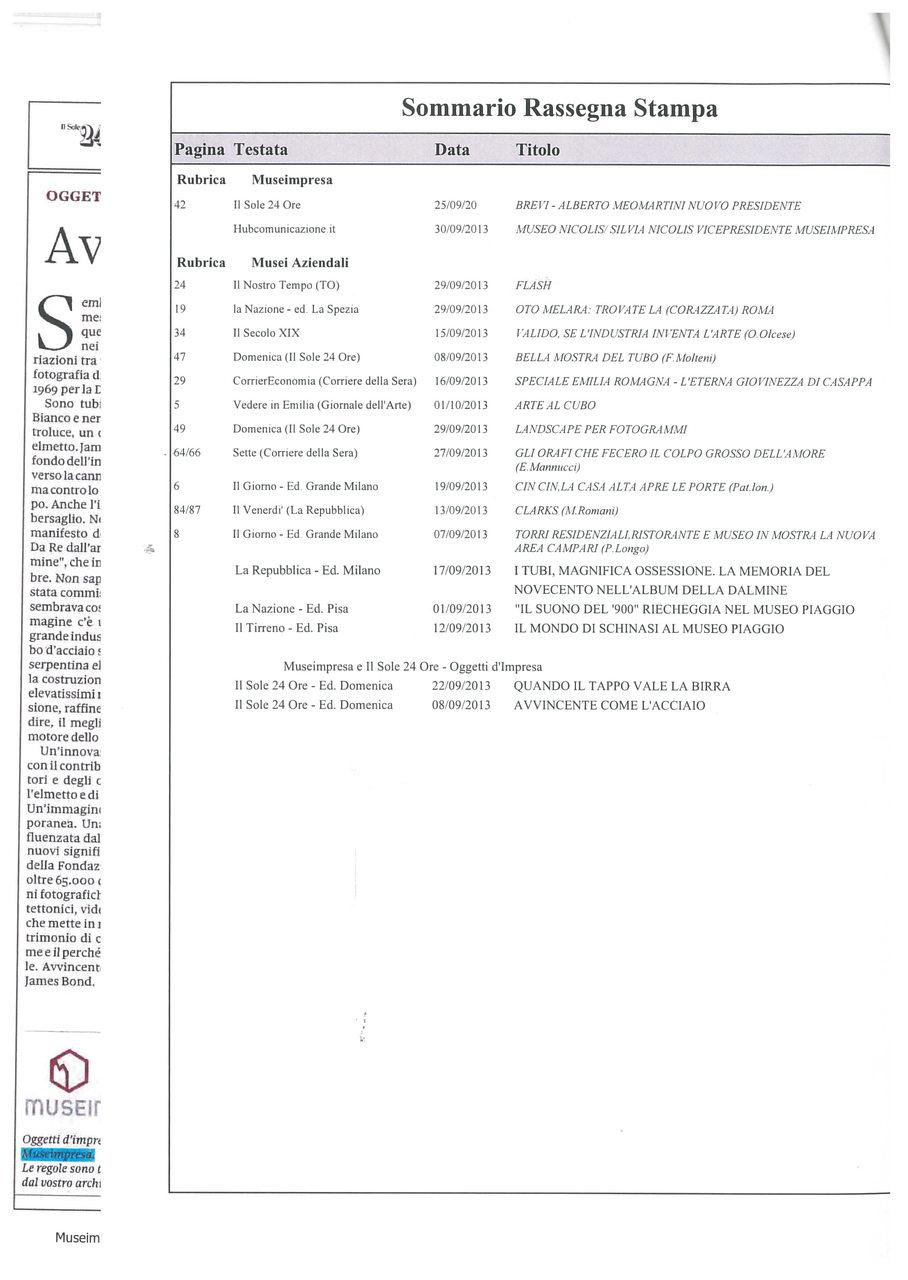 Rassegna stampa Museimpresa, settembre 2013