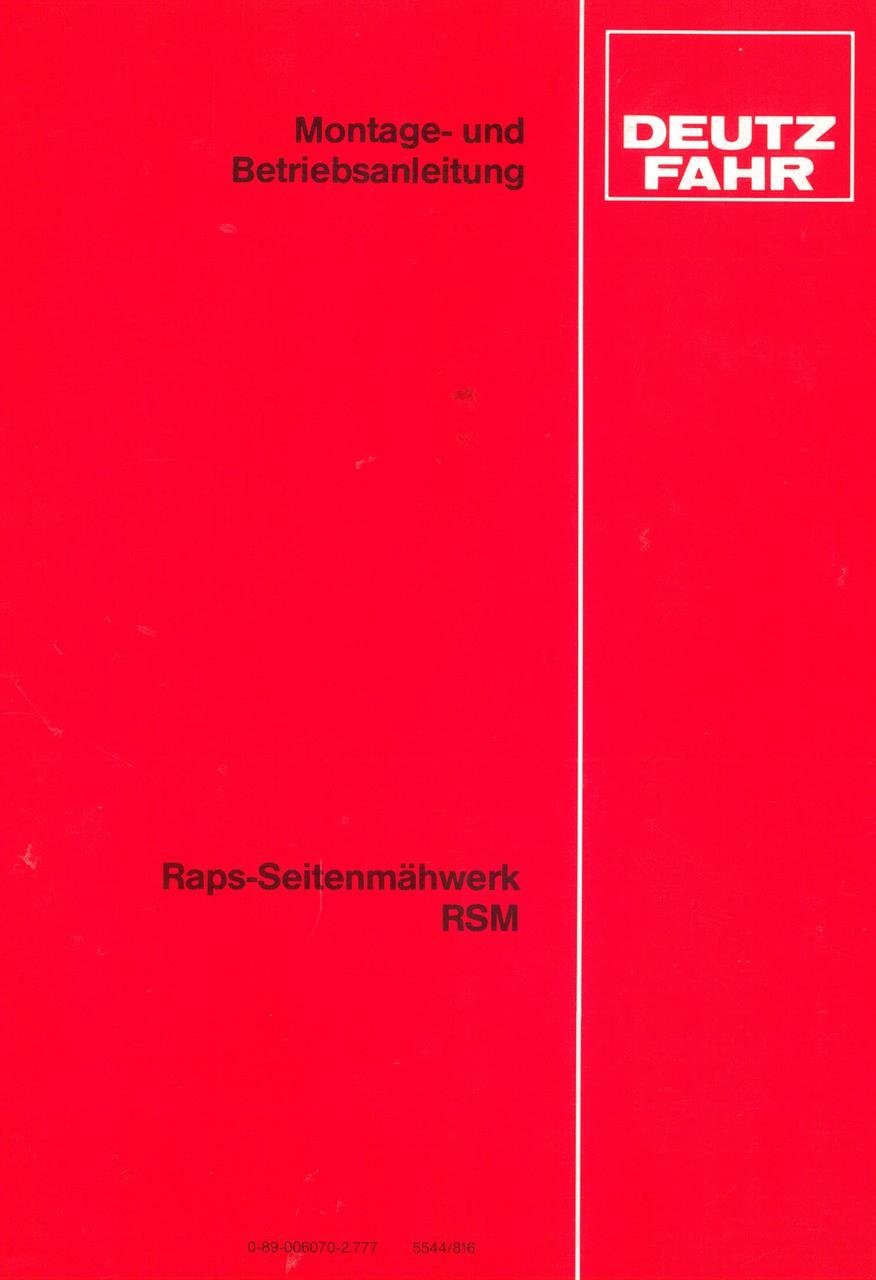 Raps-Seitenmähwerk RSM - Montage - und Betriebsanleitung