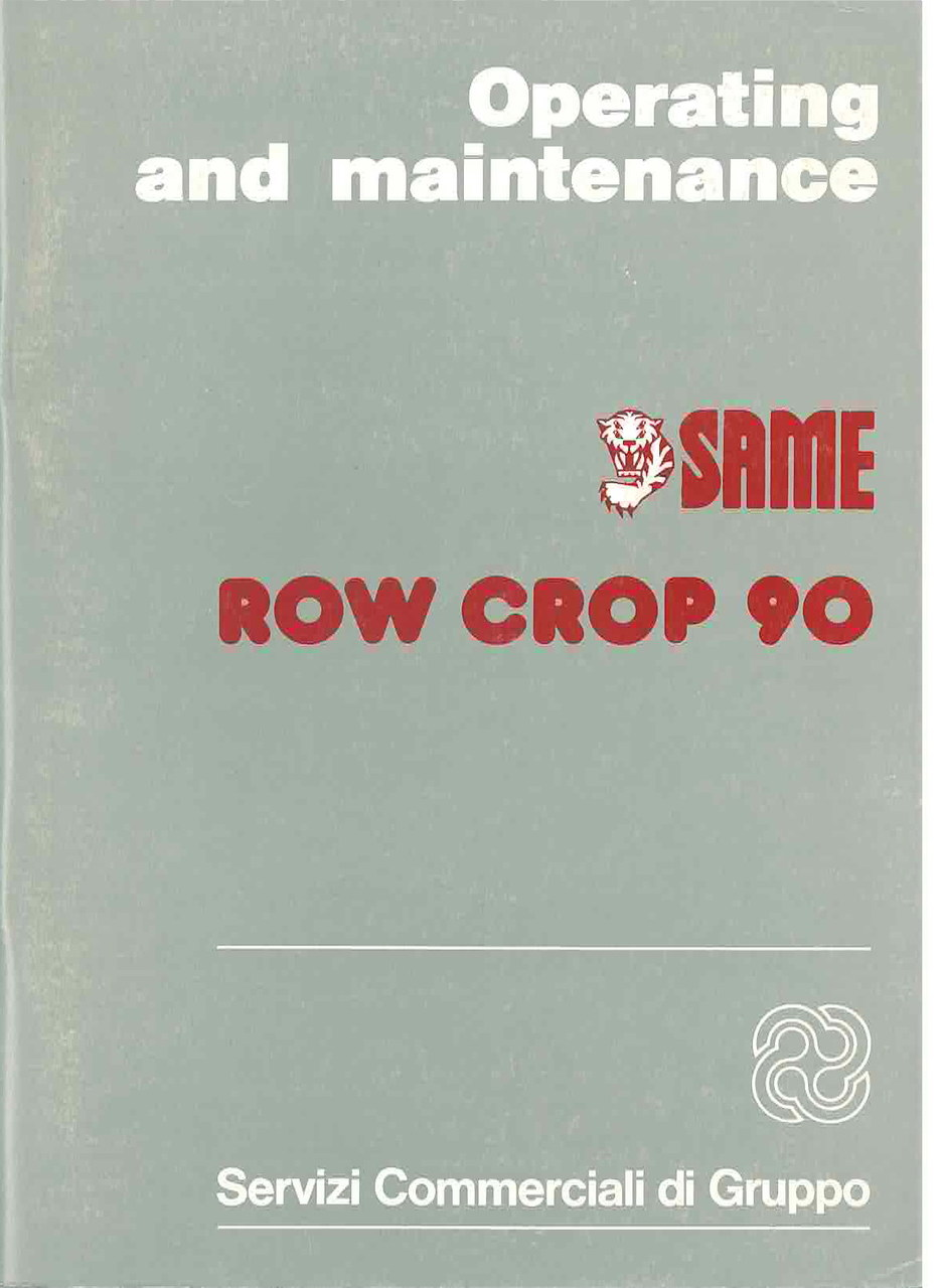 ROW CROP 90 - Operating and maintenance