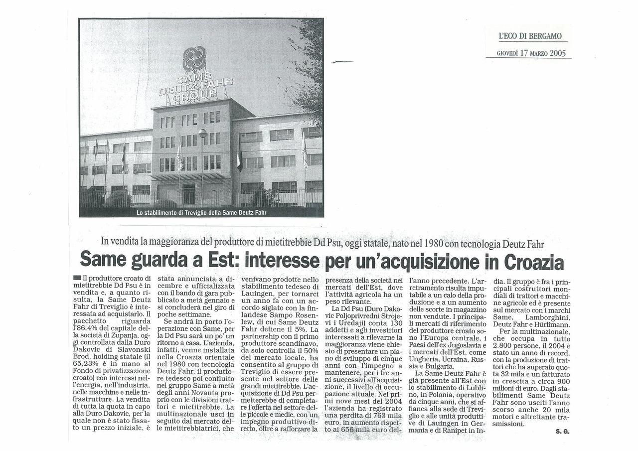 SAME guarda a Est: interesse per un'acquisizione in Croazia