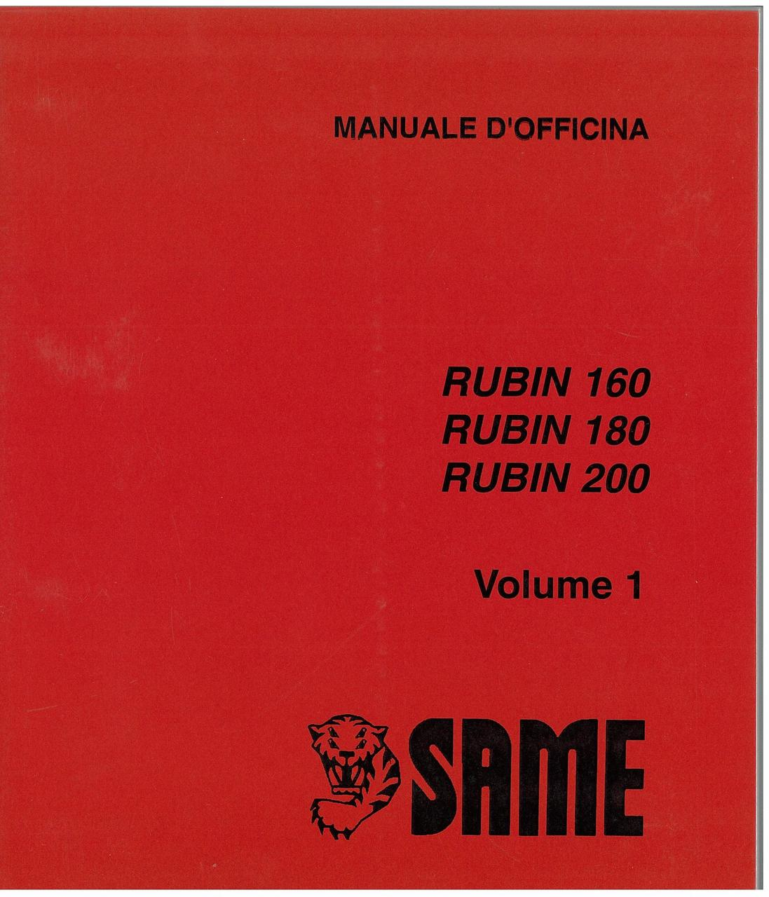 RUBIN 160 - 180 - 200 - VOLUME 1 - Manuale d'officina