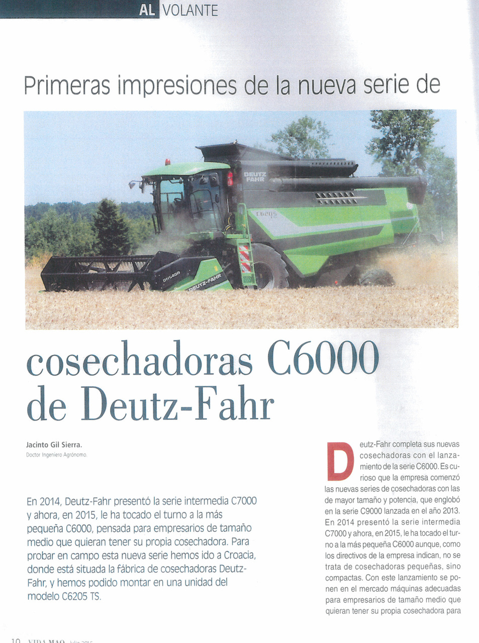 Primeras impresiones de la nueva serie de cosechadoras C6000 de Deutz-Fahr