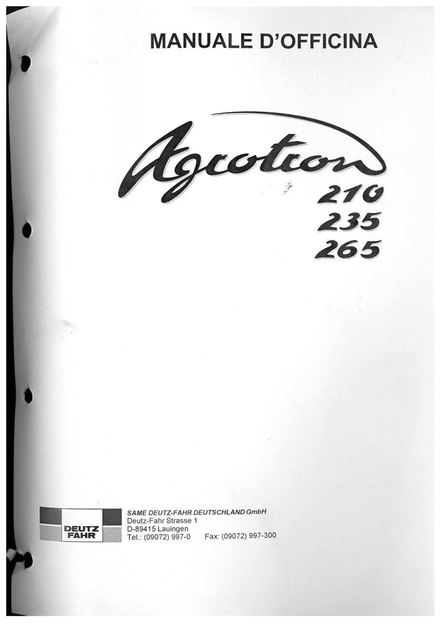 AGROTRON 210 - AGROTRON 235 - AGROTRON 265 - Manuale d'officina