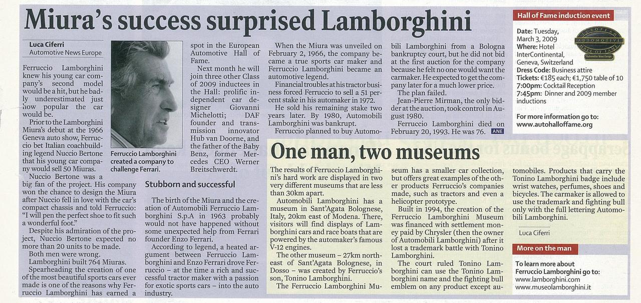 Miura's success surprised Lamborghini
