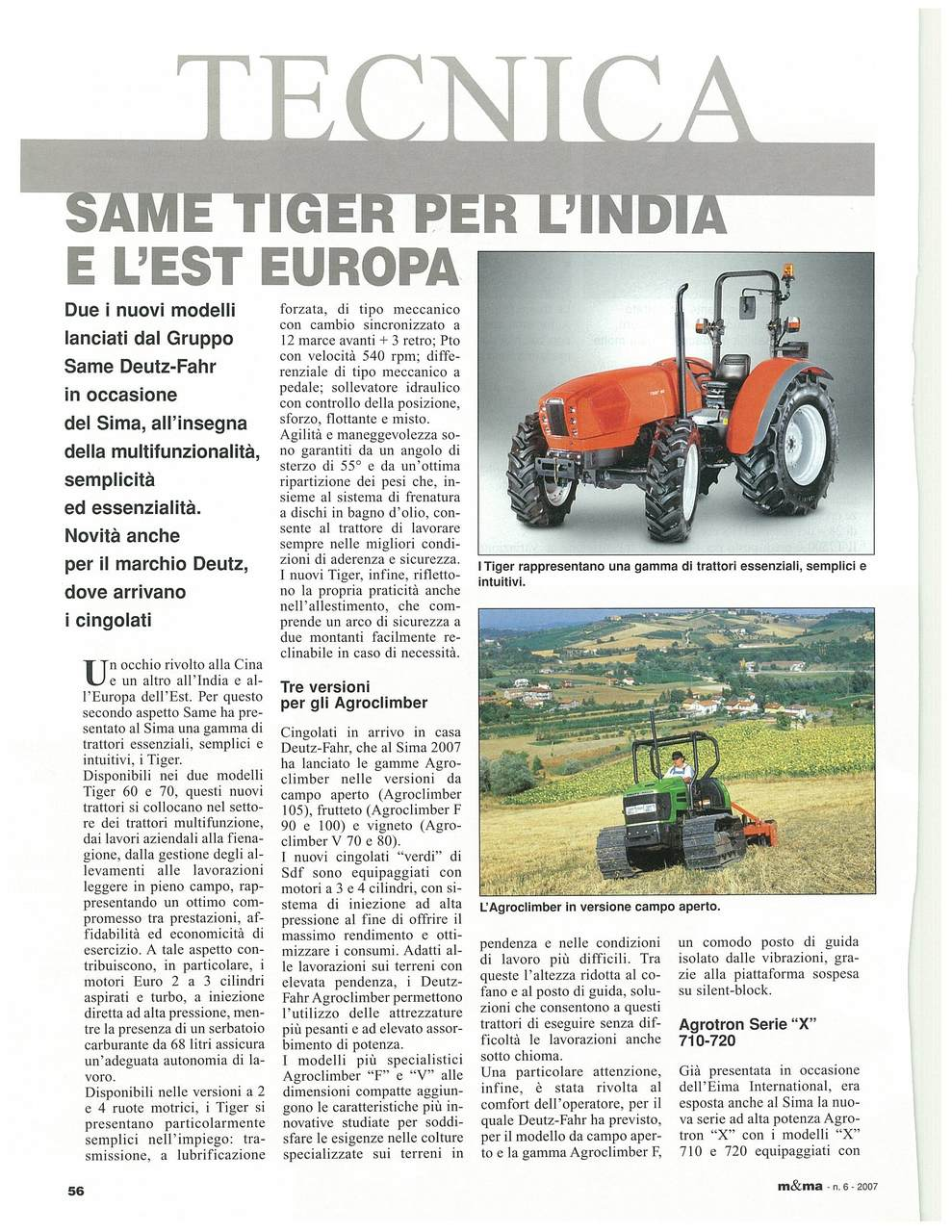 SAME Tiger per l'India e l'est Europa