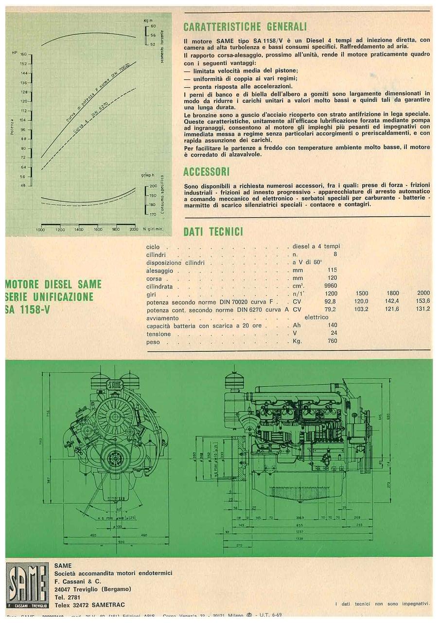 Motore Diesel Same SA 1158 B