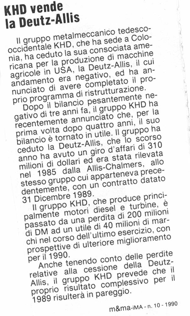 KHD vende la Deutz-Allis