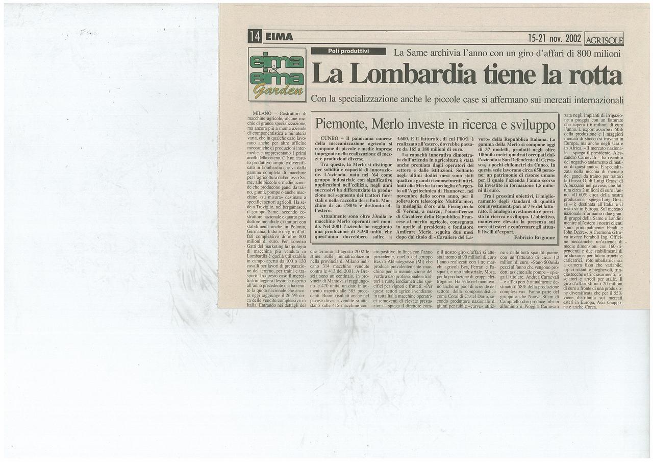 La Lombardia tiene la rotta