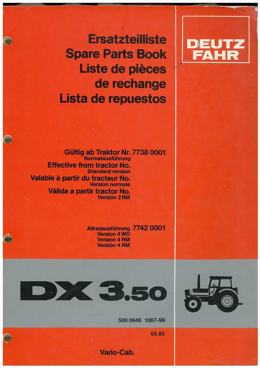 DX 3.50 - Ersatzteilliste / Spare Parts Book / Liste de pièces de rechange / Lista de repuestos