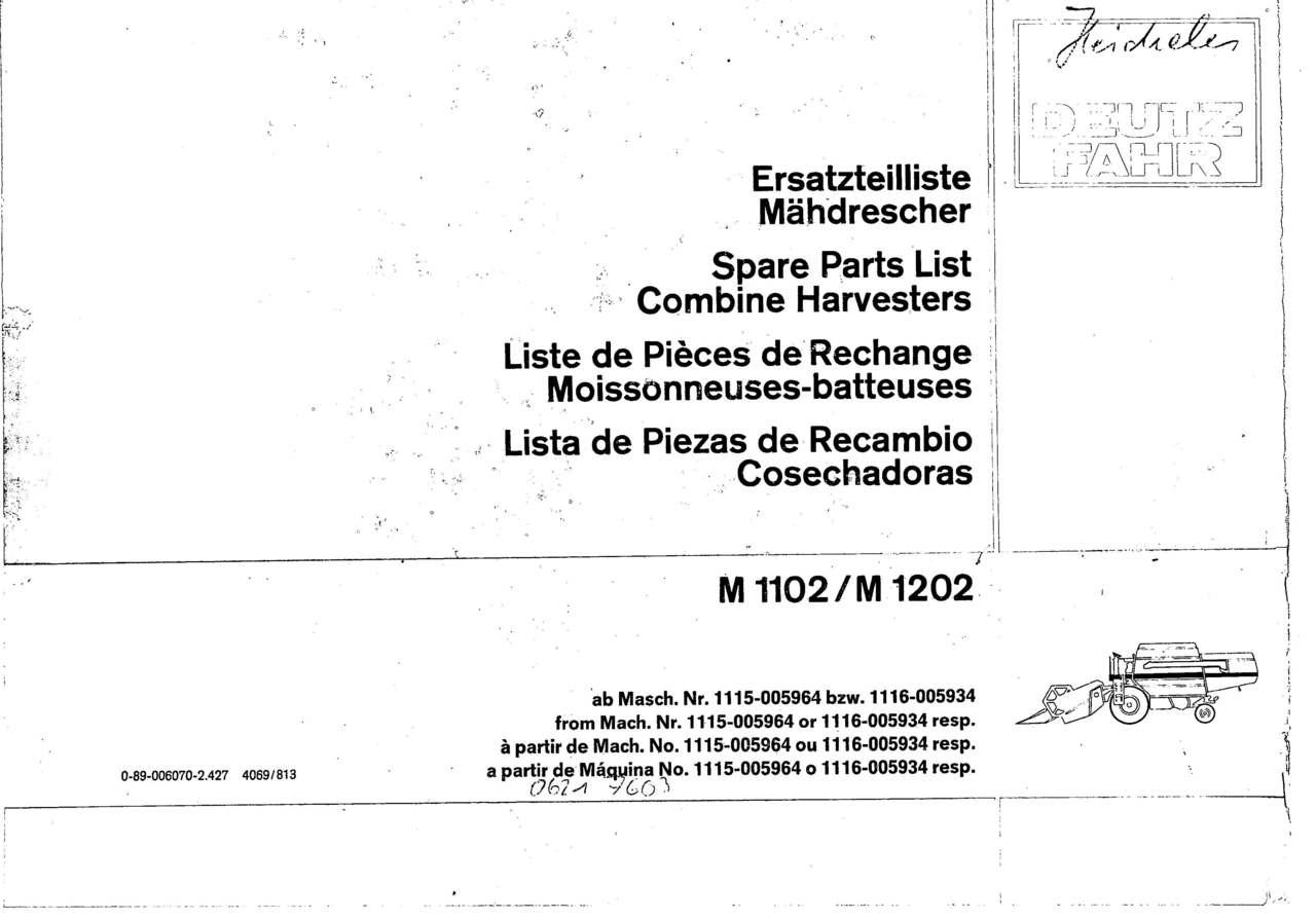 M 1102-1202 - Ersatzteilliste / Liste de Pièces de Rechange / Spare Parts List / Elenco dei Pezzi di Ricambio / Lista de Piezas de Recambio