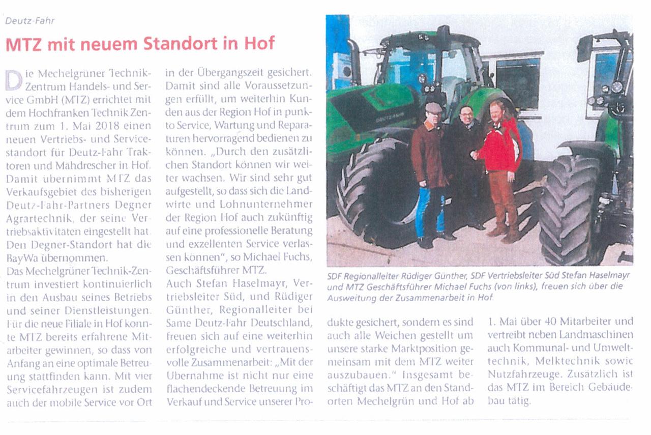 MTZ mit neuem Standort in Hof