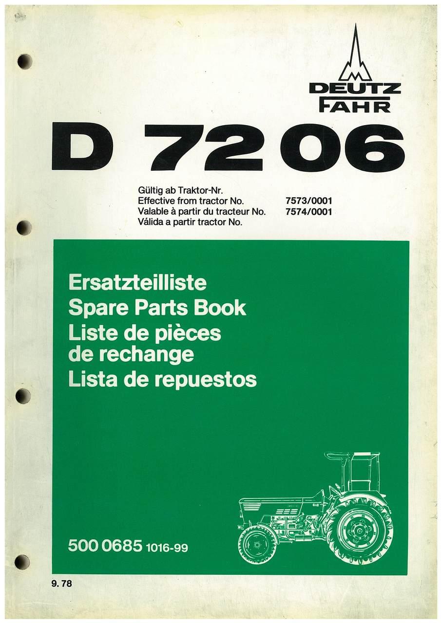 D 7206 - Ersatzteil-Nummerliste / Spare Parts - Nos. List / Liste de Repéres Numerique de Rechange / Lista de Nos. De Repuestos