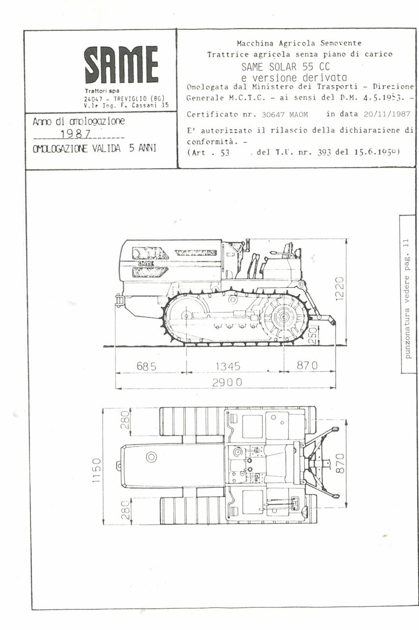 Atto di omologazione della trattrice SAME Solar 55 CC e versione derivata